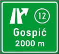Predputokaz za izlaz s autoceste ili brze ceste s oznakom izlaza